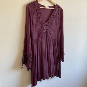 Altar'd State Purple Bell Sleeve Boho Dress